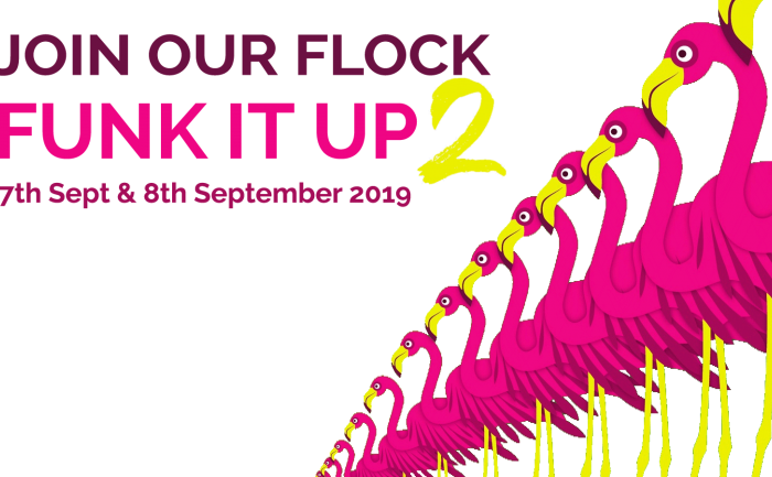 The Funk It Up 2 event image featuring dates and a graphic of pink flamingos standing in a line